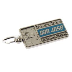 Remember your rockin' run with the sterling silver Rock 'n' Roll San Jose 1/2 Marathon Tour Stop charm. Made from sterling silver. Features blue enamel accent.