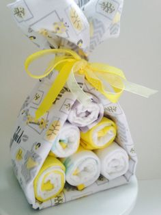 My Sweet Stork Bundles come in any color combo and are the perfect alternative to the diaper cake