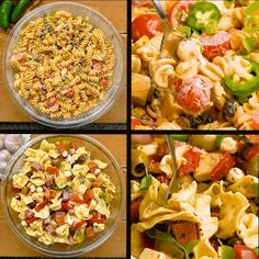 4 Ways To Prepare Pasta Salad 🥗 🌶 Extreme Food, Cooking Recipes, Gif Recipes, Cooking Hacks, Pasta Salad Ingredients, Pasta Salad With Tortellini, Recipe Maker, Summer Side Dishes, Healthy Salad Recipes