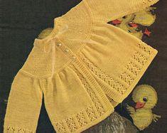 Baby Knitting Pattern Matinee Coat DK pdf