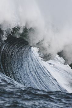 The lines in the waves curve upward. There is also a lot of smooth and rough lines in the image.