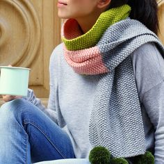 Add a playful touch to grown up outfits with Ayda Algin's just-for-us scarf in peach, pistachio and grey.
