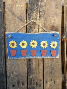 Wooden Hanging Sunflower Sign by CactusCreationsAZ on Etsy