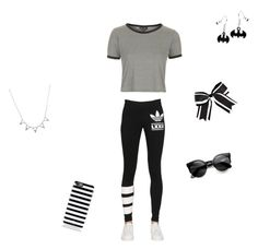 """""""shaded black"""" by jena110110 ❤ liked on Polyvore featuring Topshop, adidas Originals, Kate Spade and Chassè"""