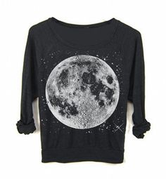 Halloween Fashion Clothing Womens FULL MOON Star Sweater Sweatshirt Bohemian by FreeBirdCloth
