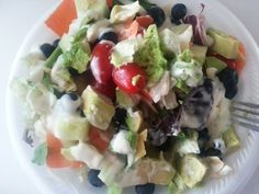 My Big Ol' #Salad with #Avocado,#BabyGreens, #Tomatoes,#Cucumbers,#Blueberries,#Carrots & #RanchDressing. #Healthy