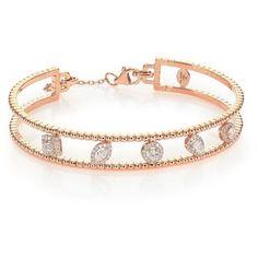 Marli Rock Candy Diamond & 18K Rose Gold Cutout Station Cuff Bracelet