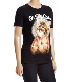 Take a look at this Goodie Two Sleeves Black 'Oh My Gato' Cat Tee - Plus today!