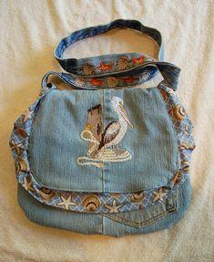 Embroidered Denim Purse Pelican