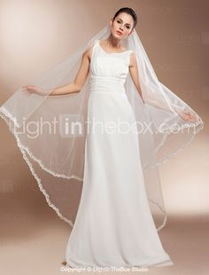 One-tier Chapel Wedding Veils With Finished Edge - US$ 39.19