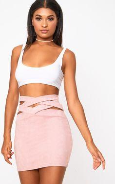 5093cb53aa792d Rose Faux Suede Lattice Waist Mini Skirt