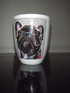 French bulldog , hand painted portrait French Bulldog, Hand Painted, Mugs, Portrait, Headshot Photography, French Bulldog Shedding, Tumblers, Bulldog Frances, Portrait Paintings