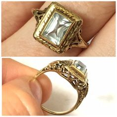 Flash SaleAntique Filigree gold Aqua ring This is another collectible antique piece from the 40's or 50's I'm guessing. Yellow gold with 14k marks in the inside band. I think this is a very light Aqua marine but am not totally sure.  This is so elegant and very comfortable. You will really ❤️❤️❤️ Vintage Jewelry Rings