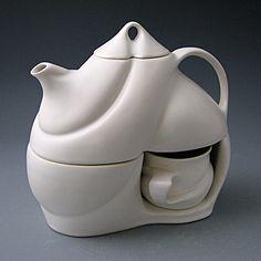 2012 Saenger Porcelain  Tea for Two (porcelain, white glaze)  five-piece set: teapot (32oz), lid, two cups (6oz), S-curved base
