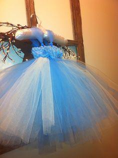 Light blue and champaign tutu dress , flower girl dress , birthday ,  on Etsy, $49.69