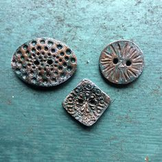 Rustic Buttons Polymer Clay Button Set Folk Art faux copper weathered verdigris bronze green brown textured button set artisan buttons by HiddenRidgeStudio on Etsy