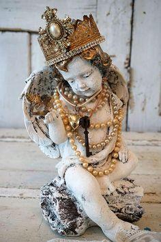 Check out Cherub statue holding bird French Santos inspired handmade crown adorned angelic figure shabby cottage chic home decor Anita Spero Design on anitasperodesign