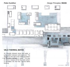The Therms Vals - Peter Zumthor Architecture Graphics, Architecture Drawings, Architecture Plan, Landscape Architecture, Ancient Architecture, Sustainable Architecture, Thermal Vals, Bodega Hotel, Site Plans