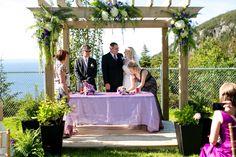 Wedding arbour# purple# green# hydrangea# fern# Newfoundland Venue# coastal wedding