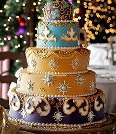 Turquoise pearls and gold on pinterest for Arabian cake decoration