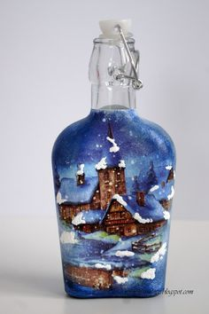 butelka decoupage z zimowym widokiem w kolorach błękitu Decoupage, Bottles, Vase, Home Decor, Decoration Home, Room Decor, Jars, Vases, Interior Decorating