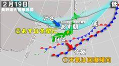【テスト配信】南海上の前線は次第に南に下がり、県内の天気は回復傾向。  関東付近に残る気圧の谷の影響で、飯田や伊那方面では雲が取れにくいかもしれない。  上空5,500m付近でマイナス30℃以下の寒気があすにかけて県の北部付近まで降りてくるため、あすは冬型が強まる。  大北地域から乗鞍・上高地では雪が断続的に強く降り、長野、飯山方面もあすの日中は雪が降る。松本、木曽方面も時おり雪が舞う見通し。