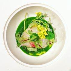 Spring in full swing: Carolina grouper crudo with wild nettles, preserved yuzu, sorrel, and spring flowers by chef @chefiab at the #BeardHouse (: @enorthkelly)