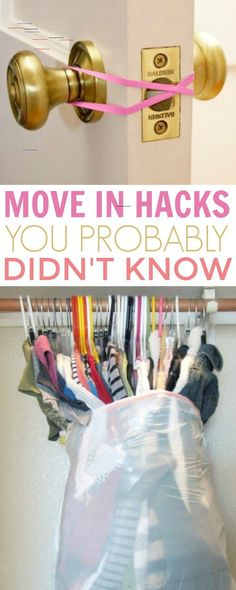 It's never easy to move into a new living space, whether it be a dorm room, apartment, or house. It always seems like there's so much to do and so many things that can go wrong. These Moving Hacks You Probably Didn't Know will help you move into your Moving House Tips, Moving Home, Moving Day, Moving Tips, Moving Hacks, Moving Costs, Moving Checklist, New House Checklist, Apartment Hacks