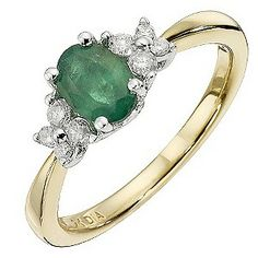 9ct Yellow Gold Emerald & 0.18 Carat Diamond Ring - Product number 8668183