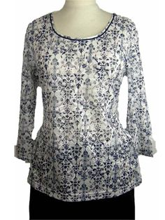 #GerryWeber Deauville casual #t-shirt 3/4 mouw blauwe print all-over op witte achtergrond