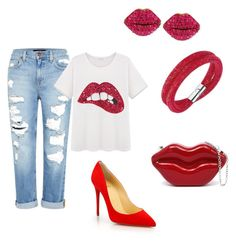 """""""Untitled #180"""" by lelybely-polyvore ❤ liked on Polyvore featuring Genetic Denim, Christian Louboutin, Swarovski and Betsey Johnson"""