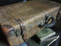 Antique Wicker Suitcase c. 1900 with Leather Trim and Eagle lock hardware. Would love to find one like this.