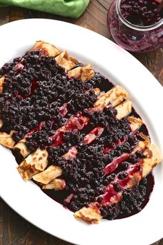 Cinnamon Crepes with Blueberry Ginger Sauce made with @zingstevia #ZingHolidayBaking #Sponsored