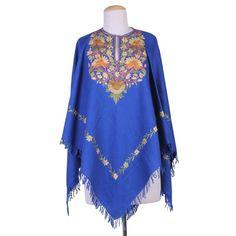 Indian Wool Poncho in Royal Blue with Aari Embroidery - Majestic Garden Kashmiri Shawls, Aari Embroidery, Lace Bolero, Wool Poncho, Royal Blue Color, Color Combinations, Plus Size Fashion, Tunic Tops, Indian