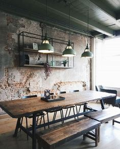 Inspiration No Credit 2 Interior Design Design Create Industrial Raw Materials Neutral Café Restaurant Pendant Lighting Stool Bench Seating Light Brick Wall Exposed Brick Warehouse is part of Cafe interior design -