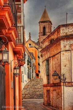 Narrow street leading to one of de many churches in Jerez de la Frontera, Andalusia_ Spain Spain And Portugal, Portugal Travel, Cadiz, Granada, Cool Places To Visit, Places To Travel, Places Around The World, Around The Worlds, Spain Tourism