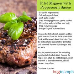 Phase 2 Filet Mignon with Peppercorn Sauce