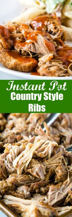 Instant Pot Country Style Ribs - make super tender, flavorful and juicy pork with just a simple dry rub and the Instant Pot. Top with your favorite barbecue sauce for and over the top delicious dinner! Pork Recipes For Dinner, Rib Recipes, Vegetarian Recipes, Chicken Recipes, Family Recipes, Cake Recipes, Instant Pot Pressure Cooker, Pressure Cooker Recipes, Pressure Cooking