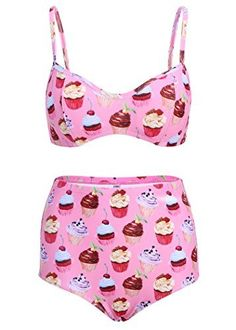 9bc47c8b94 Light Pink Cupcake High Waist Retro Vintage Bikini Top and Bottom Swimsuit  Swimwear - Size Small
