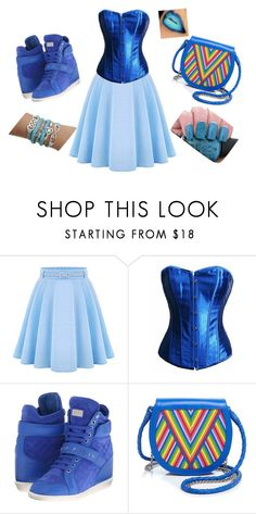 """""""blue"""" by bufiy ❤ liked on Polyvore featuring WithChic, Philipp Plein, Lili Radu, women's clothing, women, female, woman, misses and juniors"""