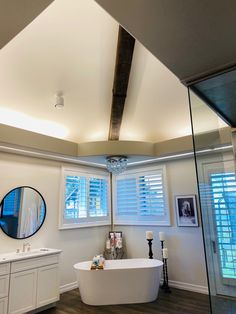 Beam Wrap in Bathroom : Story Barns Out Of State Move, Large Truck, King Size Bed Frame, Barn Wood Projects, Wood Beams, Wood Pieces, Barns, Floating Shelves, Bathroom