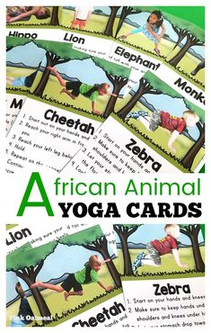 African animal yoga cards are a fun way to add movement into preschooler's day. These promote physical activity throughout the day and help kids focus. Great to use in preschool, elementary school, OT and PT! Animal Activities For Kids, Fine Motor Activities For Kids, Movement Activities, Infant Activities, Animals For Kids, Safari Animals, Preschool Age, Preschool Activities, Nursery Activities