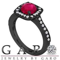 Vintage Style Ruby and Diamonds Engagement Ring, Wedding Ring 1.28 Carat 14K Black Gold Halo Pave Certified Handmade