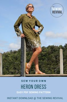 Simply lengthen our Heron Top PDF sewing pattern to create a stylish and relaxed summer dress - perfect over swimwear or relaxed casual at the beach or lake. An easy quick sew, this is a garment you will wear from the beach to the BBQ. #summersewing #easysewingpattern #sewingforwomen Modern Sewing Patterns, Polyester Satin, Different Patterns, Green Cotton, Heron, Silk Chiffon, Cotton Linen, Looks Great, Finance
