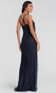 Shop long blouson-bodice bridesmaid dresses at Kleinfeld Bridal Party. V-neck formal dresses and elegant evening gowns with criss-crossing spaghetti straps, beaded-mesh overlays, and jersey linings. Navy Sequin Dress, Navy Prom Dresses, Bridesmade Dresses, Bridesmaid Dress, Formal Dresses, Mother Of The Bride, Evening Gowns, Bridal, Woman