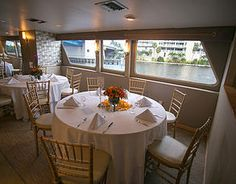 The beautiful dining room on the m/y Sun Dream. The perfect venue for an elegant event!  www.sundreamyachts.com Fort Lauderdale, FL