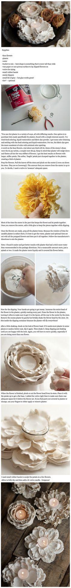 Plaster flower votives