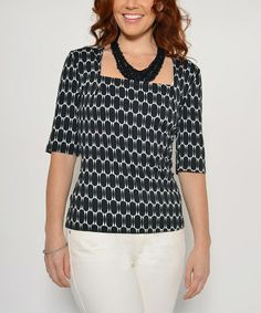 Loving this Black & White Geometric Square Neck Top on #zulily! #zulilyfinds