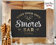 Printable smores bar sign in white, black and gold. Sign reads make your own smores bar and measures Simply print, trim, and display! Sign will fit any photo frame with an opening. Matching hot chocolate bar also available here: Choclate Bar, Hot Chocolate Bars, Cocoa Party, Diy Cadeau, Winter Treats, Hot Cocoa Bar, S'mores Bar, New Years Party, Party Signs