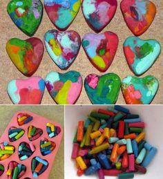 corazones con lápices de cera reciclados